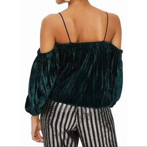264. Topshop velvet off shoulder blouse